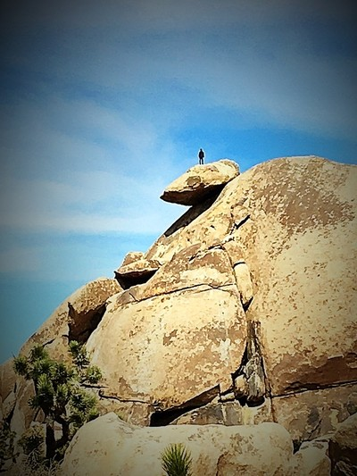 This was a chance photo made with an iphone 6s. My husband noticed a man up on the rock at Joshua Tree Outside of Palm Desert, CA.  Our guide told us he had only seen one other person up the the past several years he has been guiding at Thee park.