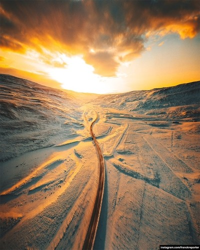 iceland road aerial view