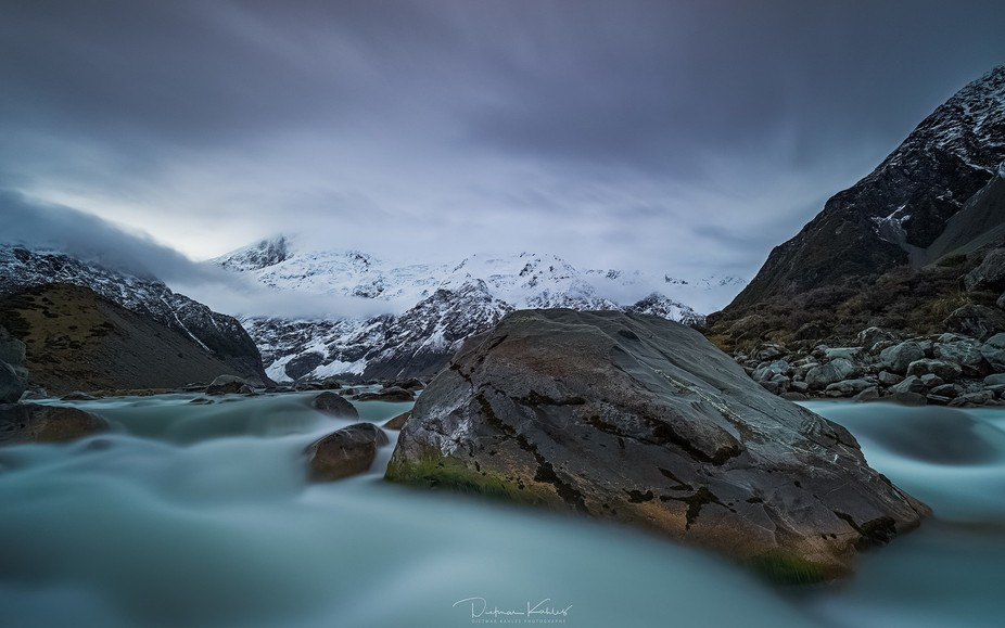 One of many moody afternoons on the river in the amazing Aoraki/Mt Cook National Park on New Zeal...