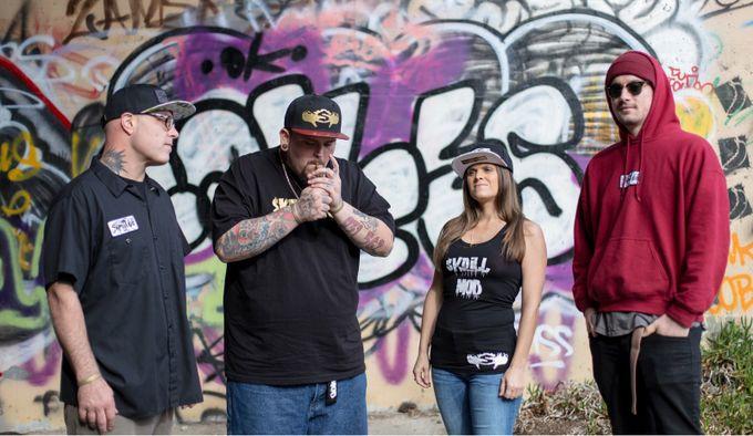 Fashion Shoot featuring Skrillmob logo at a local landmarkgor artists/tagging in Monterey Ca