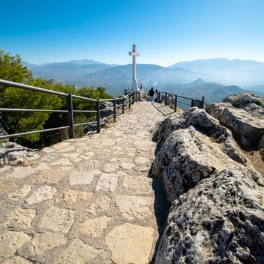 the path leading up to the cross which sits over Jaen, Spain