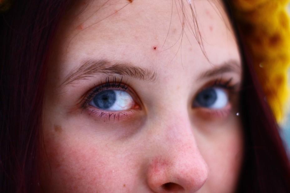 Big gray eyes.