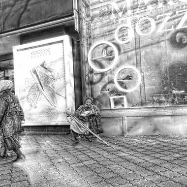Woman on street in Bucharest.
