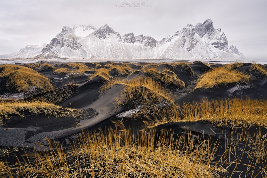 Winter in Stokksnes in the beach with black sand and the majestic mountain called Vestrahorn, I l...
