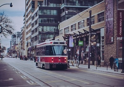 Streetcar in downtown Toronto.. love the vintage look, just had to capture it!