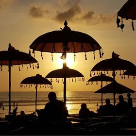 #bali #balisunset #umbrella #sea #seaside #sundown