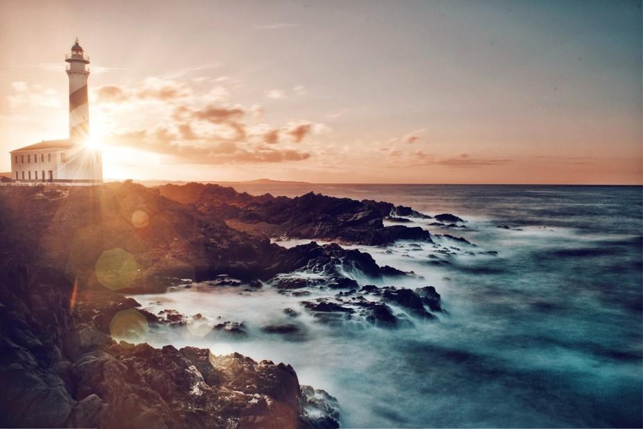 Sunset in Menorca in Favaritx lighthouse