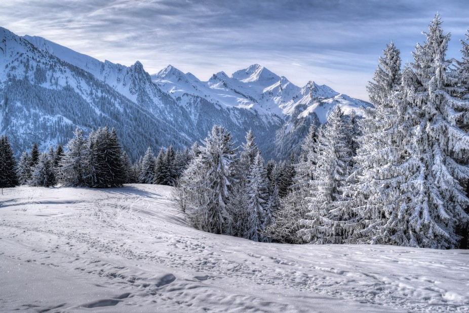 Snowy landscapes of the Aravis mountains (Mont Charvin in the background) captured in Feb. 2018 b...