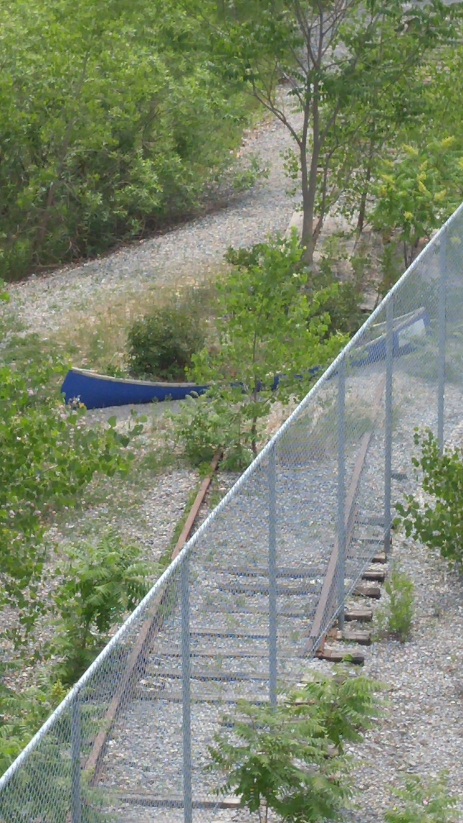 Canoe on the tracks