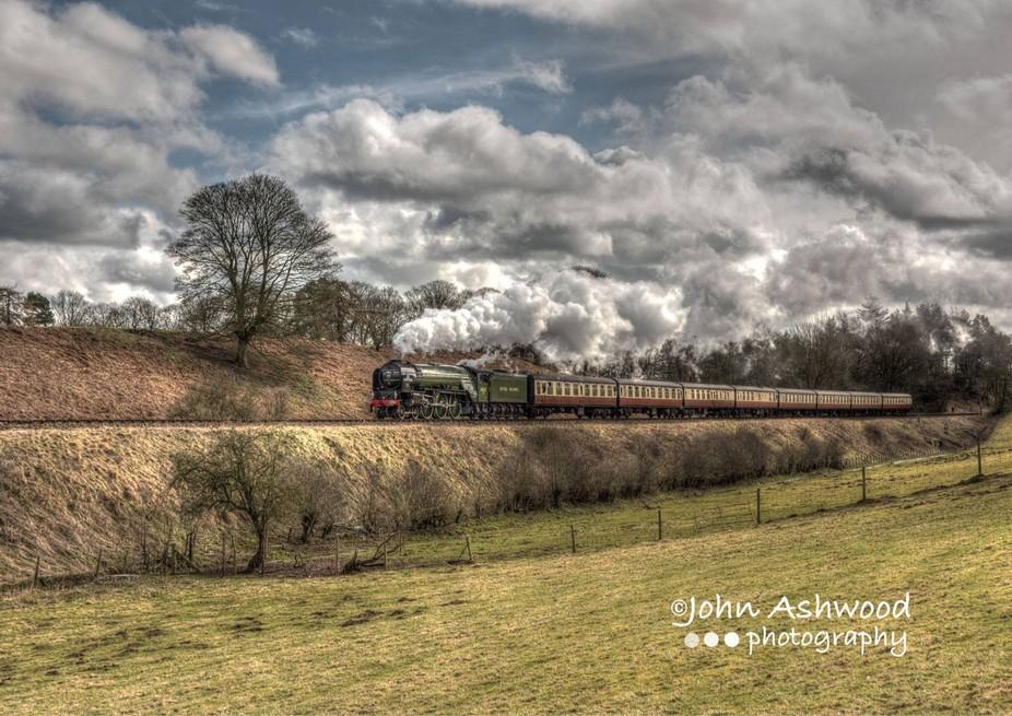 LNER Peppercorn Class A1 60163 Tornado, on Eardington Hill, Bridgnorth, Shropshire, UK.