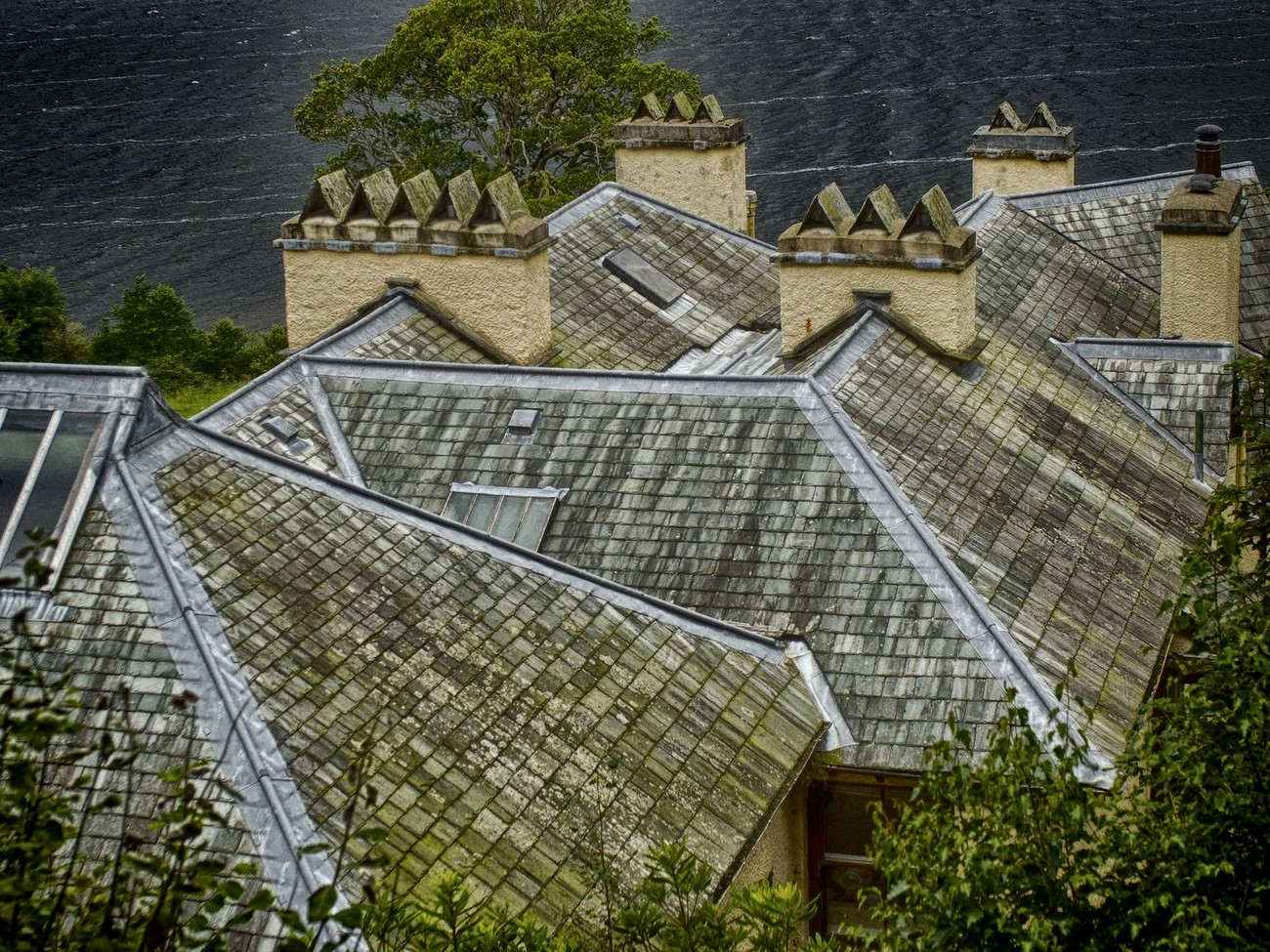 The rooftop of Brantwood, Coniston (UK Lake District) where John Ruskin, the renowned Victorian poet, artist and philosopher lived and worked. In 1871 Ruskin bought Brantwood and retired there in 1884. He was buried in Coniston's churchyard in 1900.