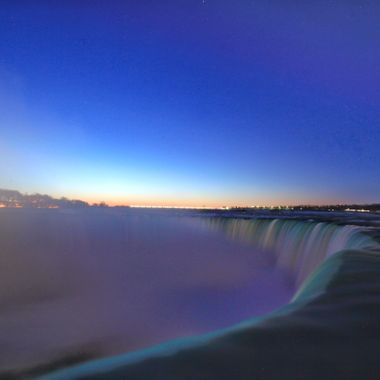 Pre-dawn view of the horseshoe falls.  Colder than a witches... well, you know.