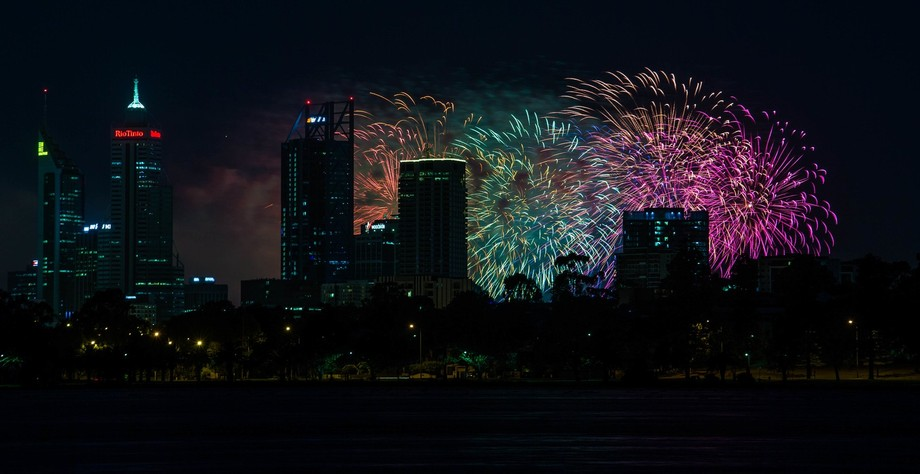 The finale of the 2018 Perth City skyworks event.  Taken from lake monger behind the city to prov...