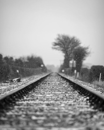 I've wanted to get a shot like this for a while and I was lucky enough to get it whilst it snowed. . . . . #snow #snowing #nature #portraitphotography #portrait #train #traintrack #traintracks #arty #moody #atmospheric #blackandwhite #blackandwhitephoto #