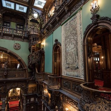Hand carved spiral staircase in Peles Castle in Romania. Built for King Carol I in 1873, this castle is considered one of the most beautiful castles in Europe.