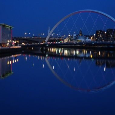 Clyde Arc Bridge beautiful reflections on a clear evening