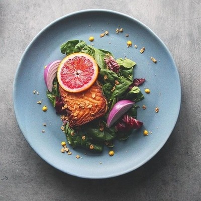Pan-Seared, Buttery Citrusy Salmon with Greens and Granola
