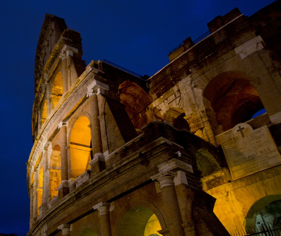blue hour at the coliseum in Rome Italy