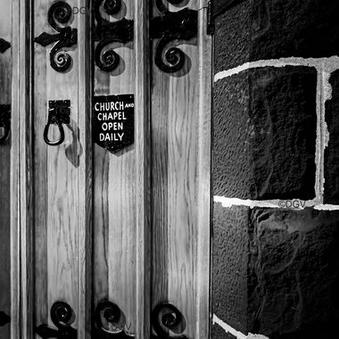 Church Door and Stone with sign