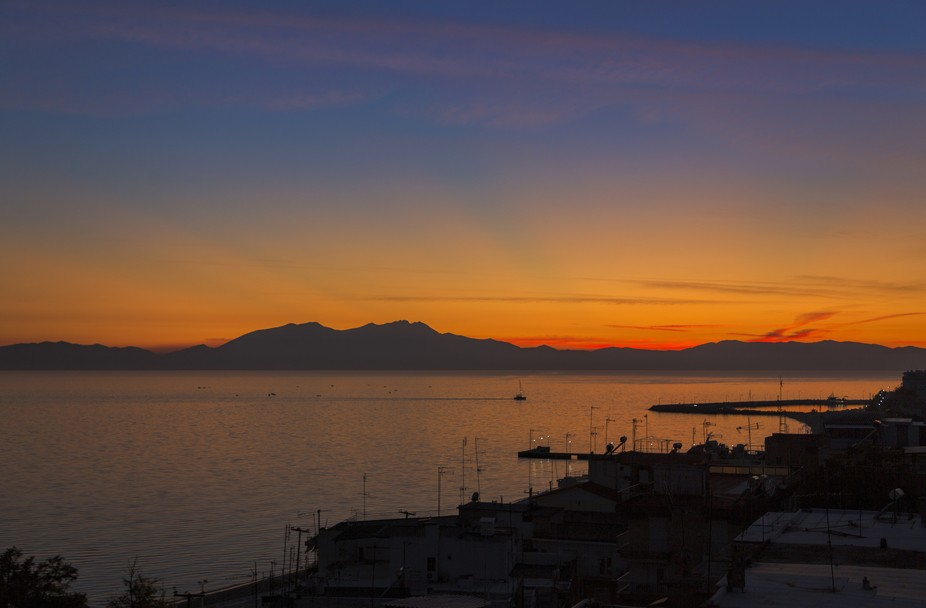 From the roof garden of a hotel I was able to get this shot of Mt Olympos just after the sun had ...