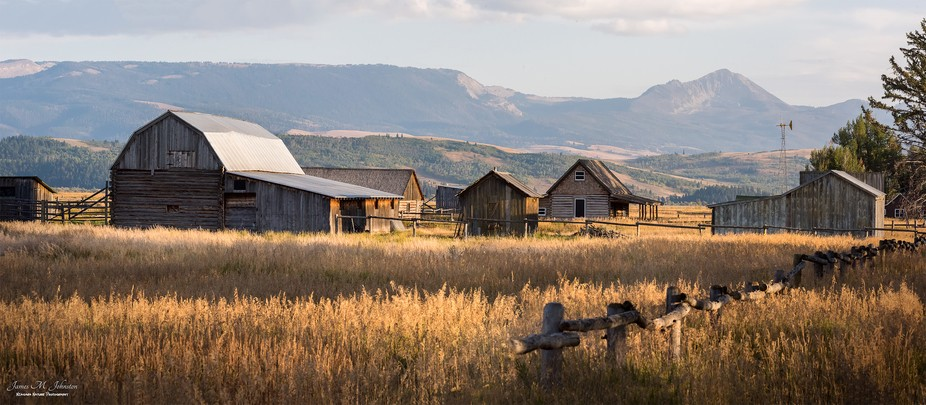 The historical complex of farmhouses on Mormon Row in Grand Teton National Park is diagonally acr...