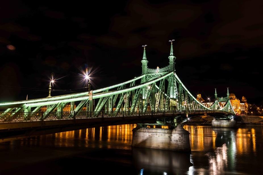 A night view of the Liberty Bridge, Budapest.