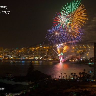 Fireworks at the end of the summer in Los Cristianos Bay. South Tenerife.