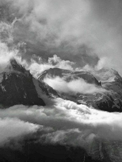 Clouds break on Mont Blanc