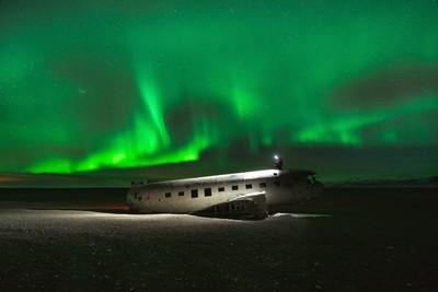 aurora lit plane wreck