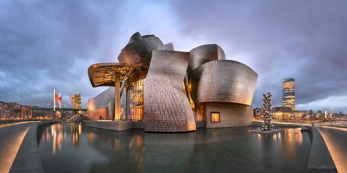 Panorama of Guggenheim Museum in the Evening by ansharphoto - Geometry And Architecture Photo Contest
