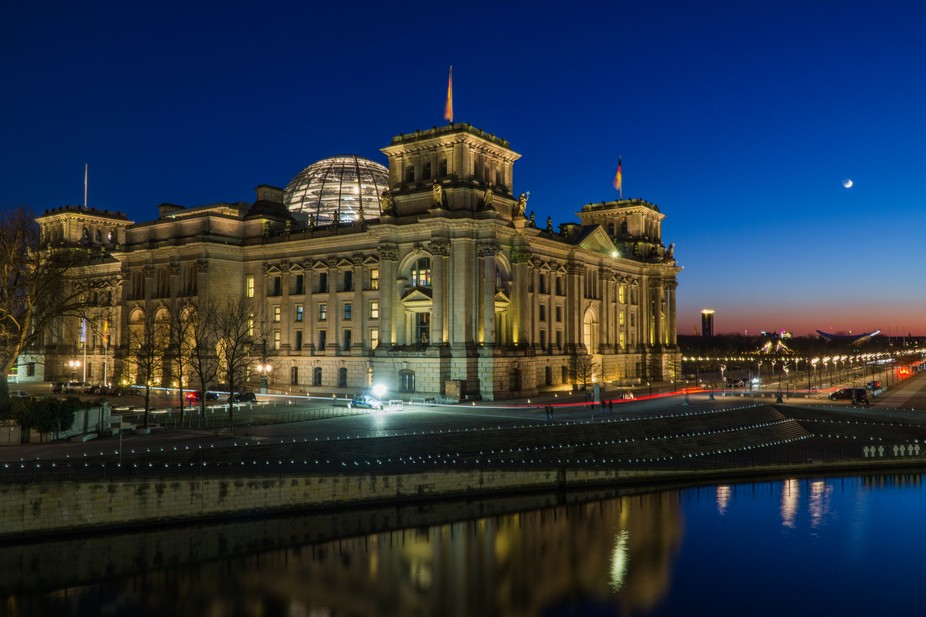 The Bundestag building in Berlin, taken from across the Spree after sunset