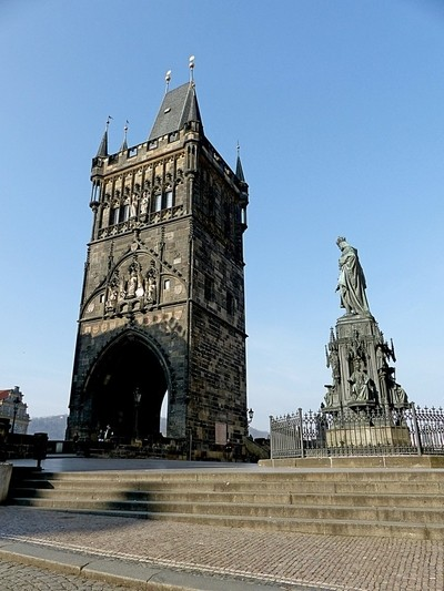 A tower on Charles Bridge, Prague, Czech Republic