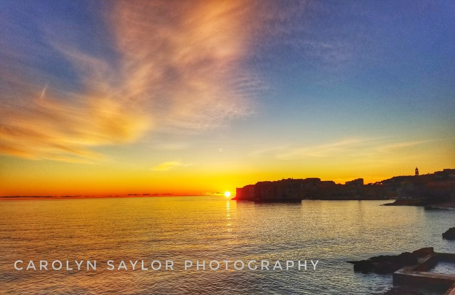 The sun sets on the city of Dubrovnik winter 2018