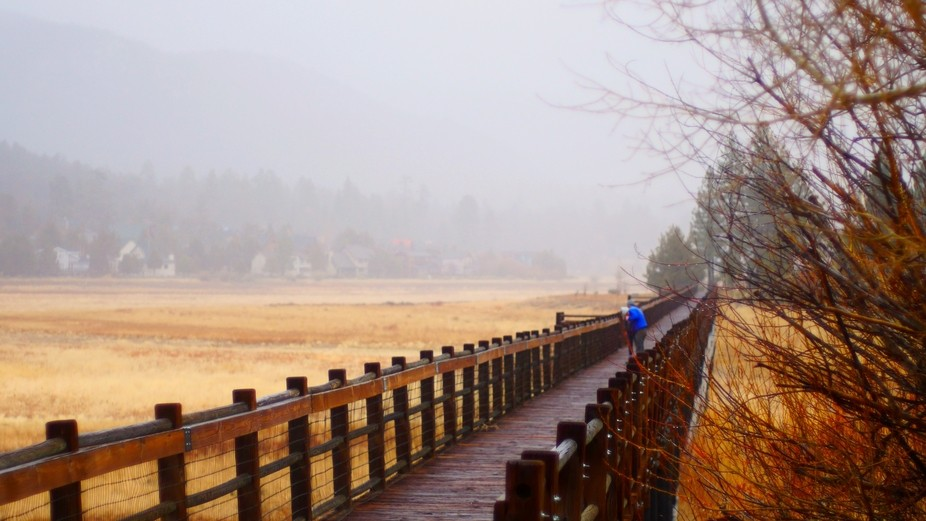 Beautiful bridge that runs the length of a dry lake bed in Big Bear Lake, CA. Two lovers ignore t...