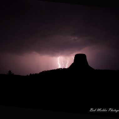 Thunder storm at Devils Tower.