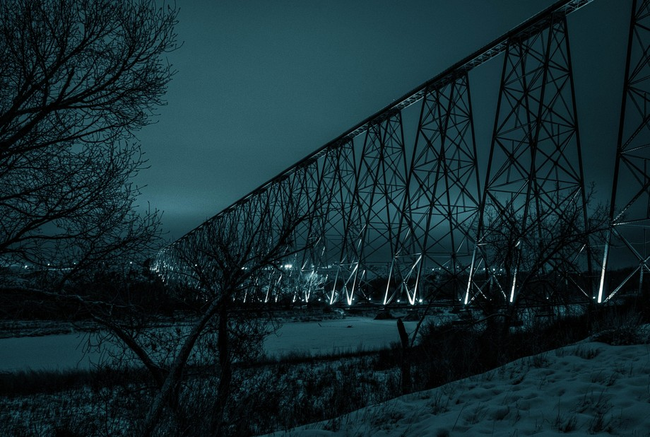 This bridge was lit up for Lethbridge's 100 year anniversary.