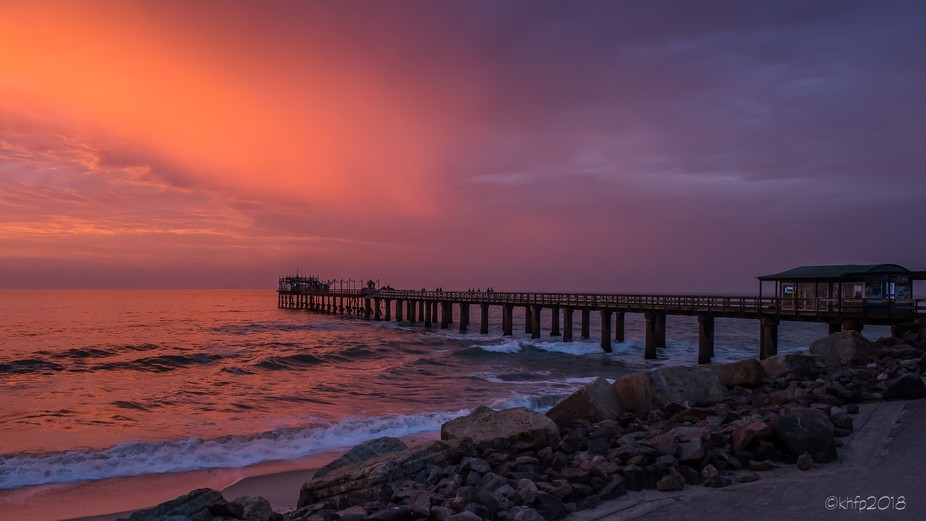 The Swakopmund jetty at suset. The clouds and unusual rain made this sunset a special experience.
