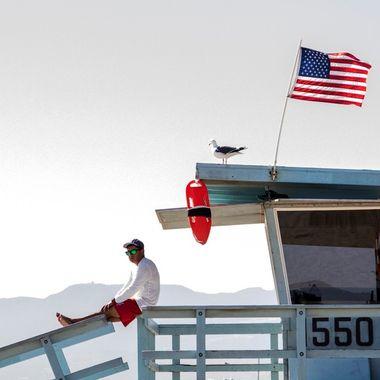 A lifeguard at Santa Monica Beach in Los Angeles, California