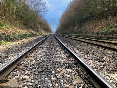Low down view of a railway line