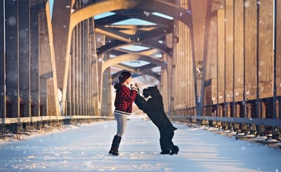 Just a girl and her Giant Schnauzer