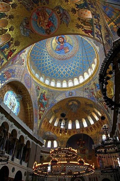 The naval Cathedral of St. Nicholas the Wonderworker (Stavropigial Nicholas Naval Cathedral of Kronstadt), St. Petersburg. A view inside the Cathedral. Ceiling painting. Photo 06.