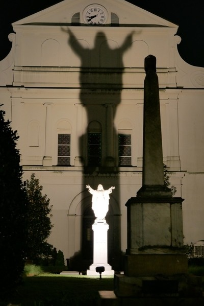 Statue shadow on rear of St. Louis Cathedral