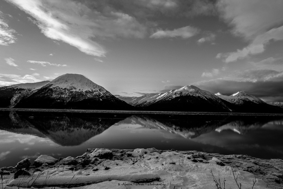 Taken along the Seward Highway, there was calm waters which made for a perfect reflection.