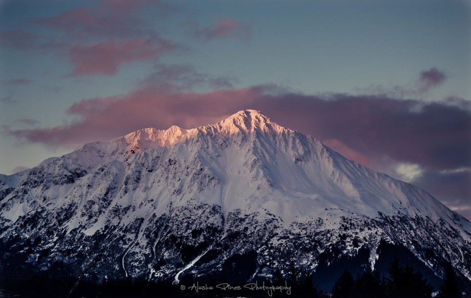 Pinks and blues surround this mountain peak in Seward, Alaska