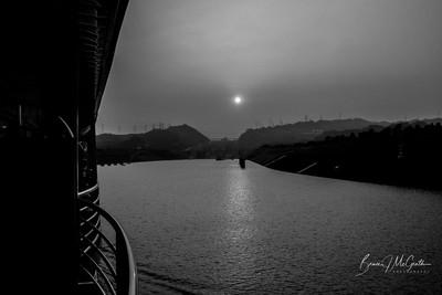 Sunset over 3 Gorges dam China