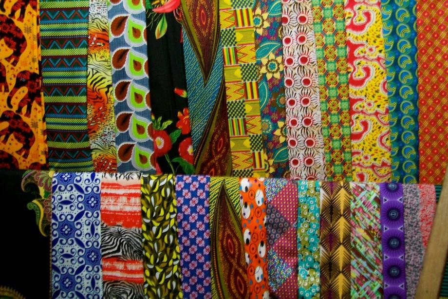 Fabrics on display in Rwandan Market