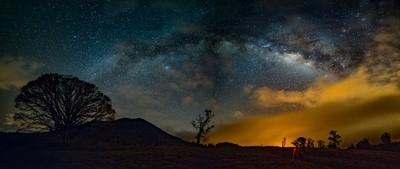 Milky Way and Turrialba Volcano