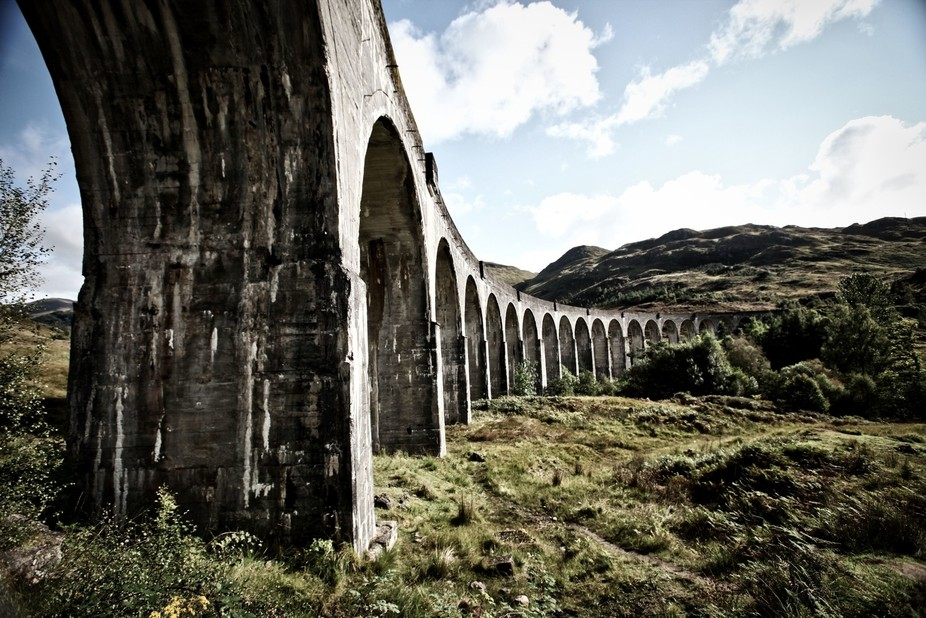 Another view, this time trainless, of the Glenfinnan Viaduct, Lochaber, Scotland.