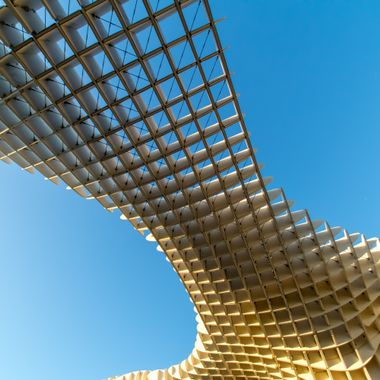 a abstract view from underneath architecture in Seville, Spain
