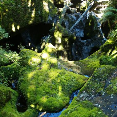 a moss covered  rock in a small stream